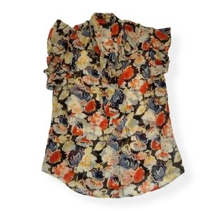 {Theory} Silk Tie-neck Ruffle Floral Blouse